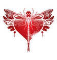 dragonfly with abstract flying heart with wings vector image