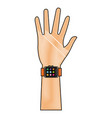 drawing hand man with smart watch technology vector image vector image