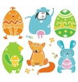 easter cute set animals vector image