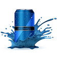 energy drink in blue splash vector image vector image