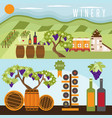 flat design set of landscape with winery vector image vector image