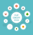 flat icons beauty insect playful fish blossom vector image vector image