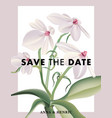flower save date card with realistic aerangis vector image vector image