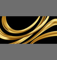 gold 3d wave on black background abstract motion vector image