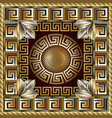 greek gold 3d square panel pattern modern vector image