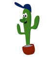 green cactus on white background vector image vector image