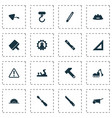 industrial icons set with plane hammer turn vector image vector image