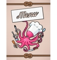 Menu with octopus vector image