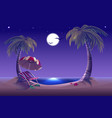 Night beach Sea moon palm trees and sand vector image vector image