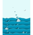 Ocean or Sea Background with Ships vector image