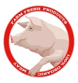 Pig label red vector image vector image