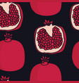 pomegranates black background seamless pattern vector image vector image