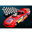 Red Dragster racing car with chequered flag and vector image vector image