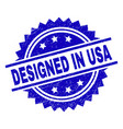 scratched textured designed in usa stamp seal vector image vector image