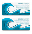 sea wave banner with paper cut style effect vector image vector image