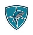 Shark emblem shield vector image vector image