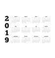 Simple calendar on 2019 year in german language vector image