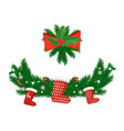 spruce with pine cones and santa socks vector image vector image