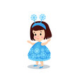 sweet brunette little girl in the costume of vector image vector image