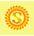 The logo is a sun with the letter S vector image vector image
