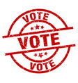 vote round red grunge stamp vector image vector image