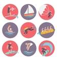 Water sports icons set flat vector image vector image