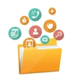 Yellow file folder icon and flat icons vector image vector image