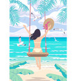 young woman swinging on swing on tropical beach vector image vector image