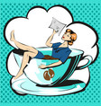 business woman in cup of coffee reading document vector image