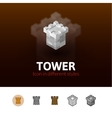 Tower icon in different style vector image