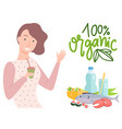 100 one hundred percent organic girl with juice vector image vector image