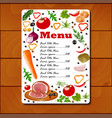 a leaf menu with vegetables and seasoning and oil vector image vector image