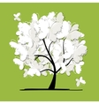Art tree with butterflies for your design vector image vector image