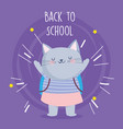 back to school education cute cat with backpack vector image vector image