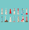 beacon building lighthouses with searchlight vector image