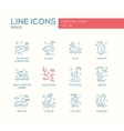 Birds - line design icons set vector image