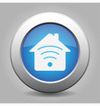 blue metal button - house with signal vector image vector image