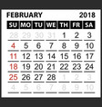calendar sheet february 2018 vector image vector image