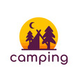 camp tent in forest camping logo template vector image
