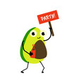 cartoon avocado character party sign and drink vector image vector image