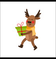 cartoon christmas reindeer character with present vector image vector image
