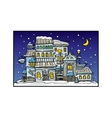 cartoon night city coated by snow vector image vector image