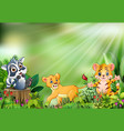 cartoon of the nature scene with different animals vector image vector image