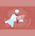 chef cook holding saucepan with hot soup smiling vector image vector image