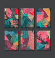 collection six colorful christmas cards vector image vector image