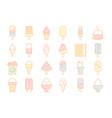 colored ice cream icons frozen milk food balls in vector image