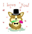congratulations on valentine s day a cute puppy vector image vector image