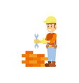 construction worker with wrench tool and wall vector image vector image