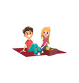 couple at picnic spending time together outdoors vector image