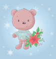 cute cartoon bear with a bouquet poinsettia vector image vector image